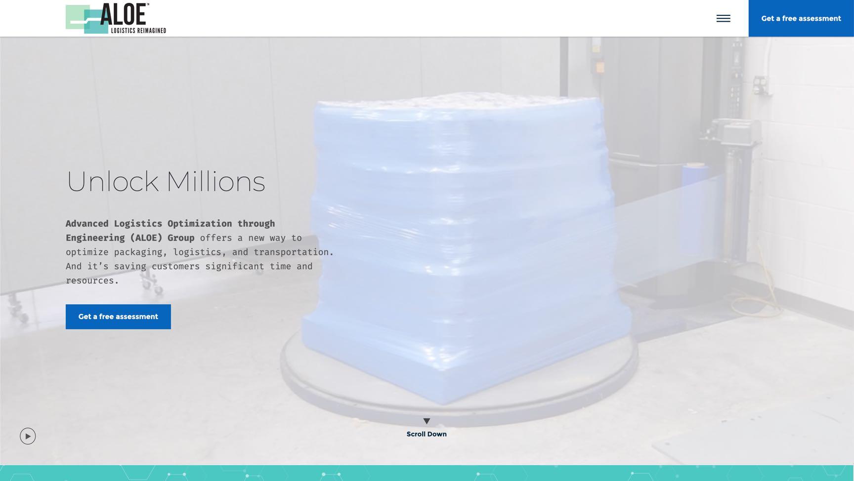 screenshot of ALOE website