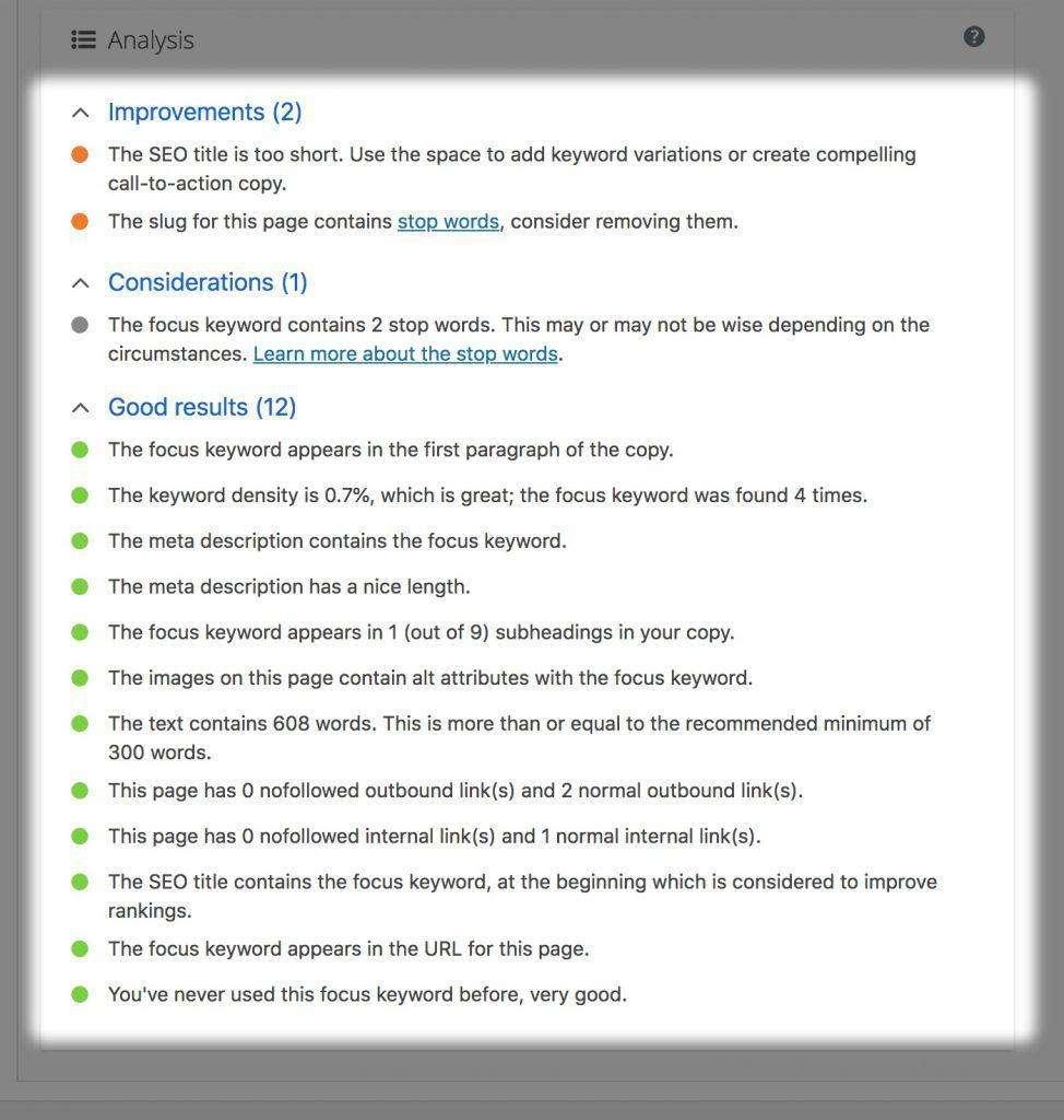 Yoast Analysis Report Tab - The Keyword Analysis