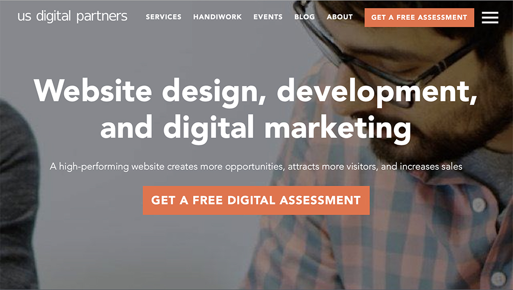 """On the USDP home page, we use the call to action """"Get a free digital assessment"""" so it's clear what a user should expect if they clicked."""