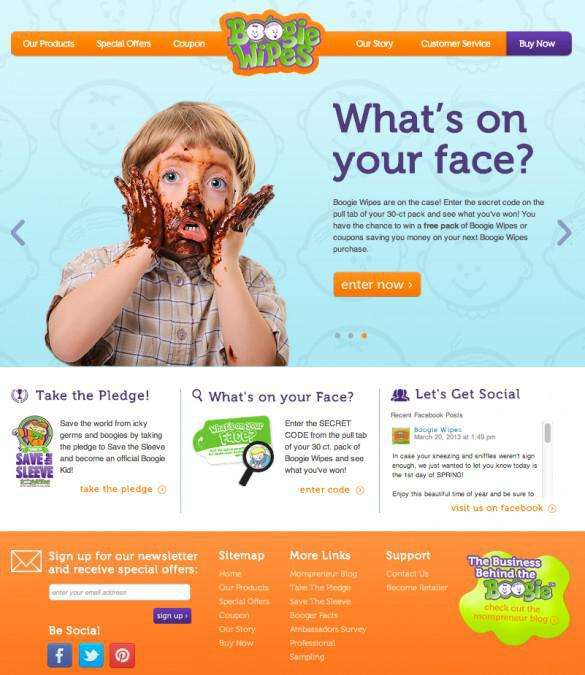 Boogie Wipes website design