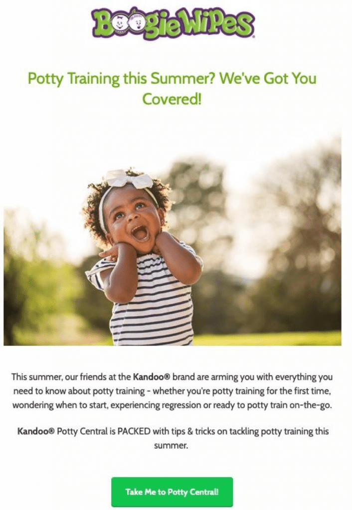 Boogie Wipes uses CinchMail to serve relevant content to its email subscribers, including tips on potty training in the summer, as shown here.