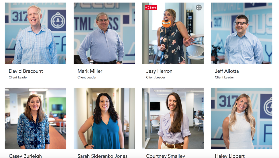 The USDP Team page features casual photos of each team member. But when you mouse-over each one, you'll find a fun, new photo highlighting part of their personality.