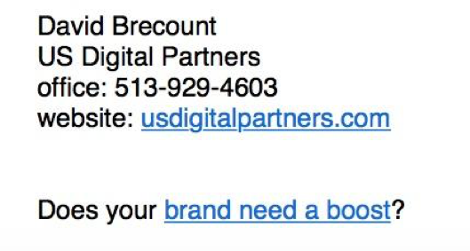 Every USDP employee uses a simple email signature like this, with a link to relevant content on our blog.