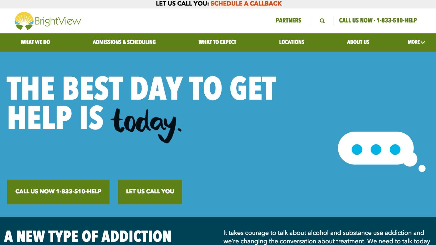 Brightview Health web screenshot of homescreen
