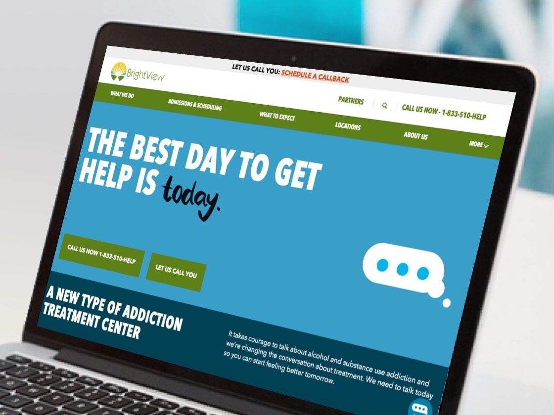 Brightview Health web screenshot of home landing page