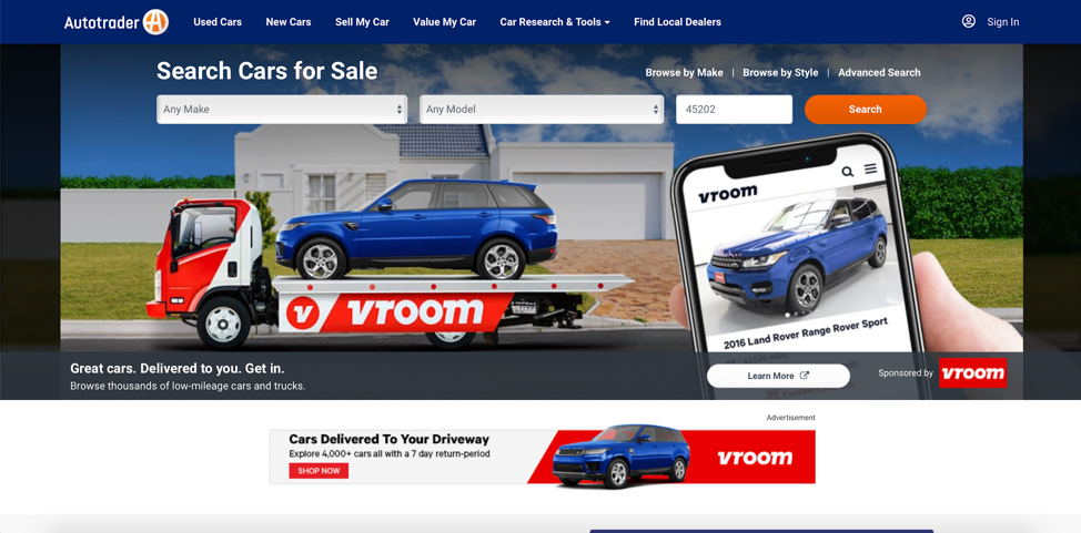 Screenshot of Autotrader website, showing messaging & images that focus on the company and product.