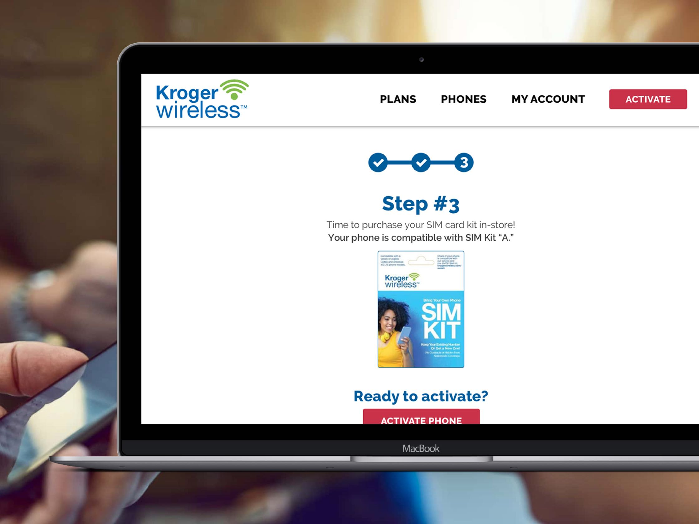 Kroger Wireless site on MacBook Pro.
