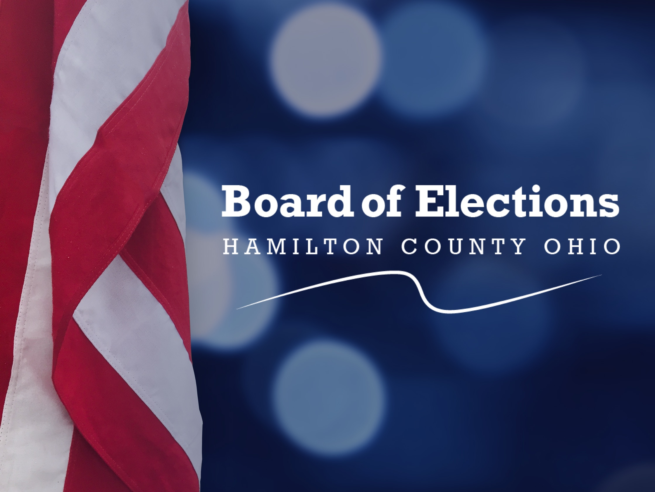 Patriotic image of American flag and Hamilton County Board of Elections logo.