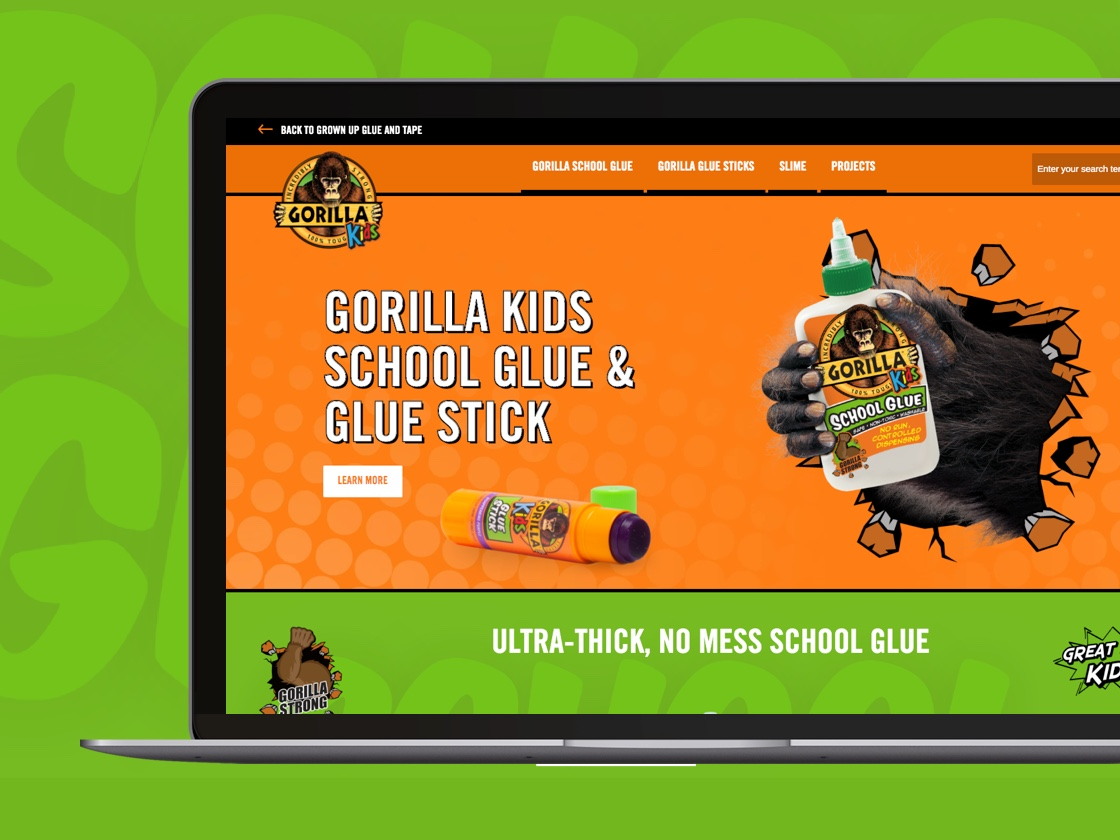 Image of Gorilla Glue Kids webpage on a MacBook pro laptop screen.