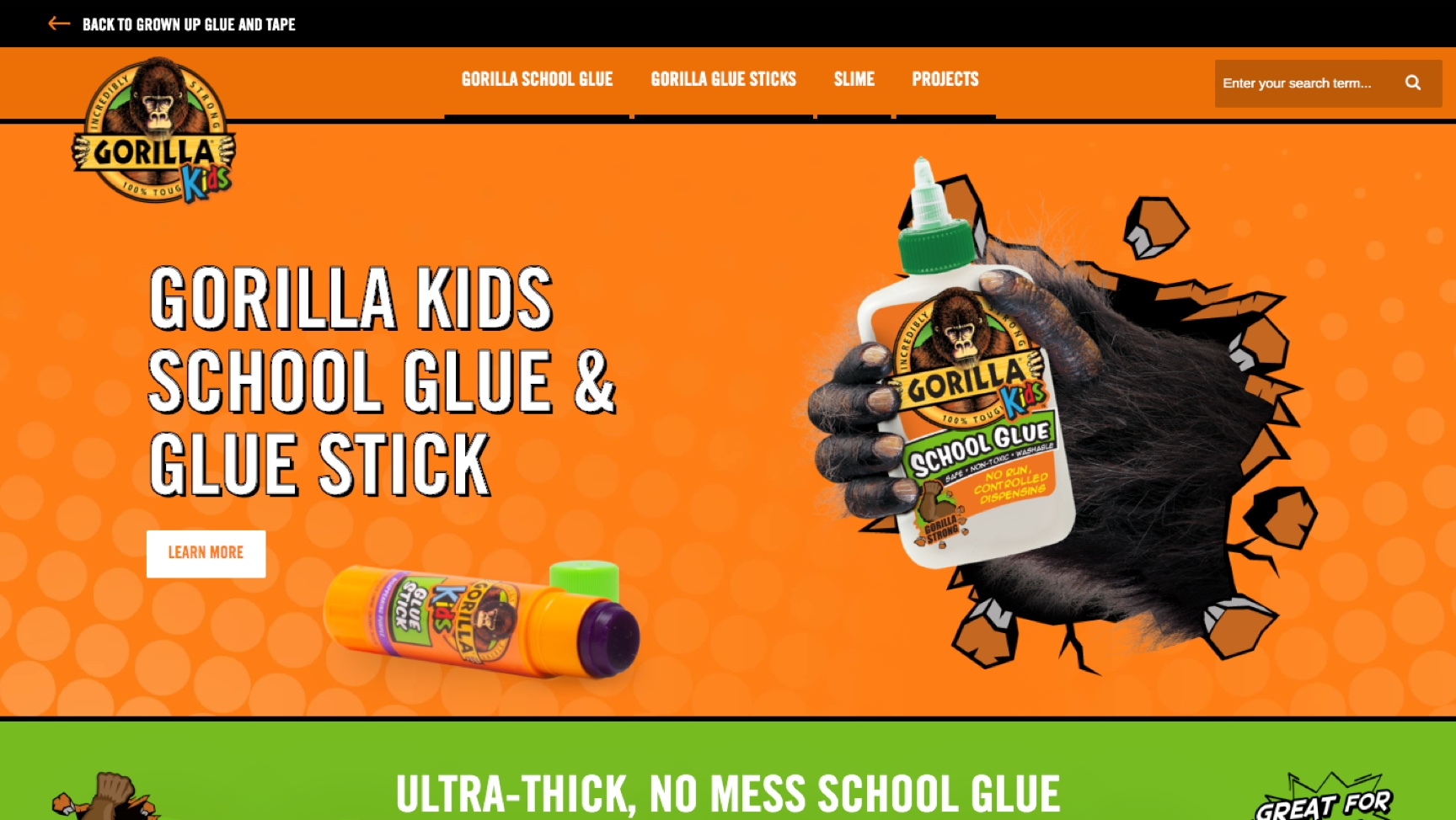 Image of Gorilla Glue Kids webpage.