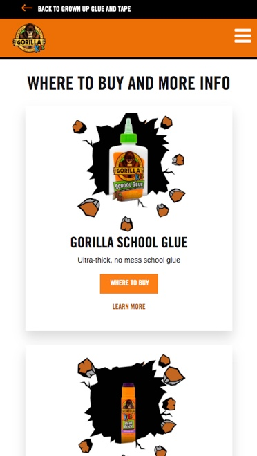 Image of Gorilla Glue Kids mobile webpage.