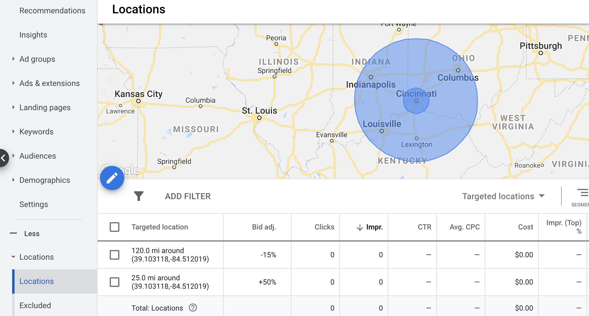 Locations targeting map in Google Ads using two radiuses