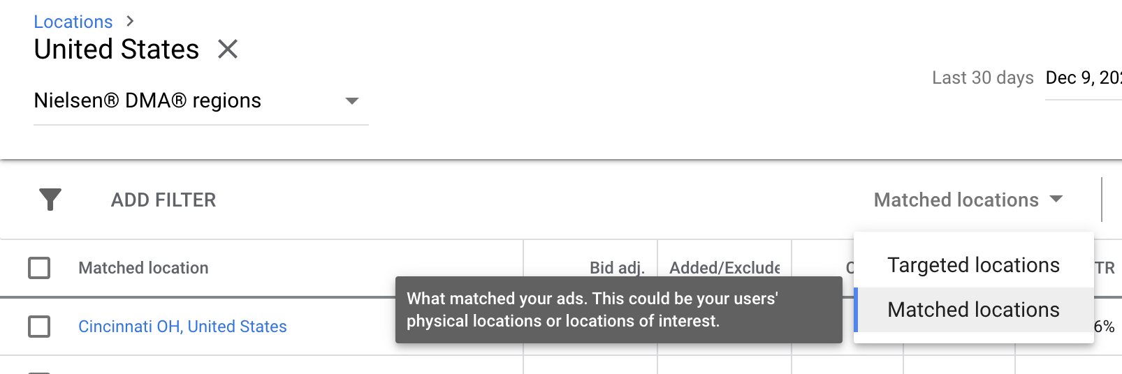 filter according to location in Google Ads