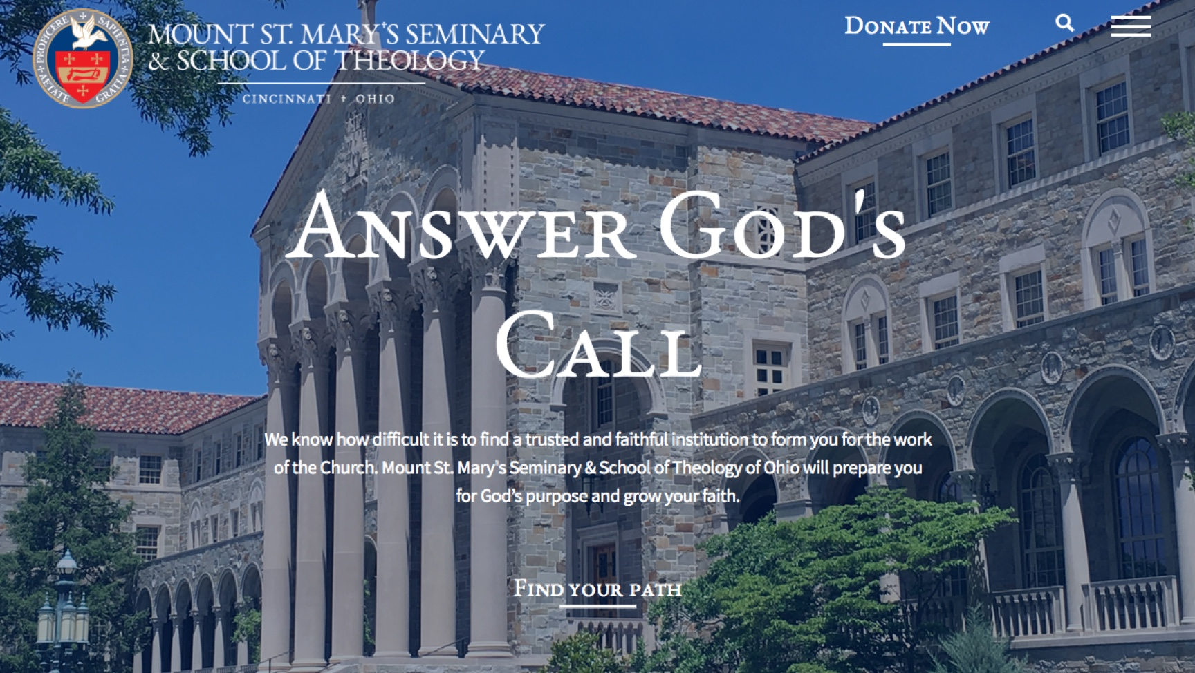 Image of Mount St. Mary's homepage.