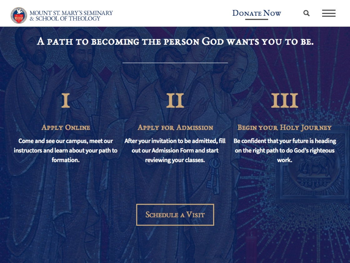 Image of the 3-step process on the website to join Mount St. Mary's seminary.