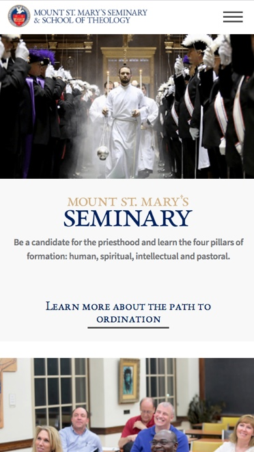 Image of a Mount St. Mary's mobile webpage.