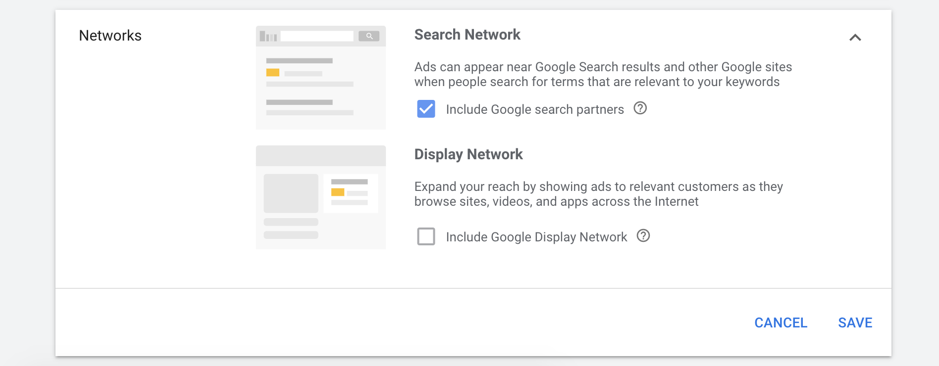 Networks in Google Ads campaign settings