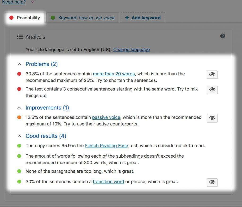 Yoast Readability Report