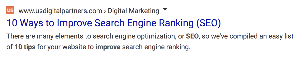 Google Search Result Page meta data