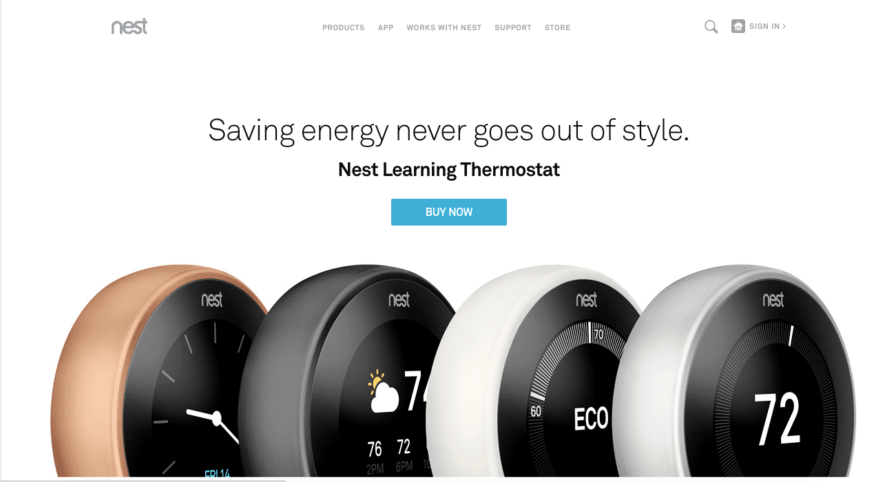Nest homepage perfect message