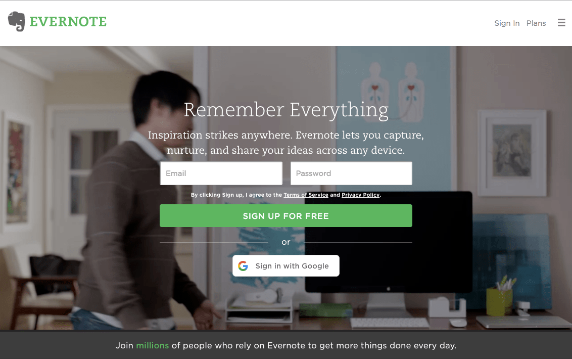 Evernote perfect homepage design