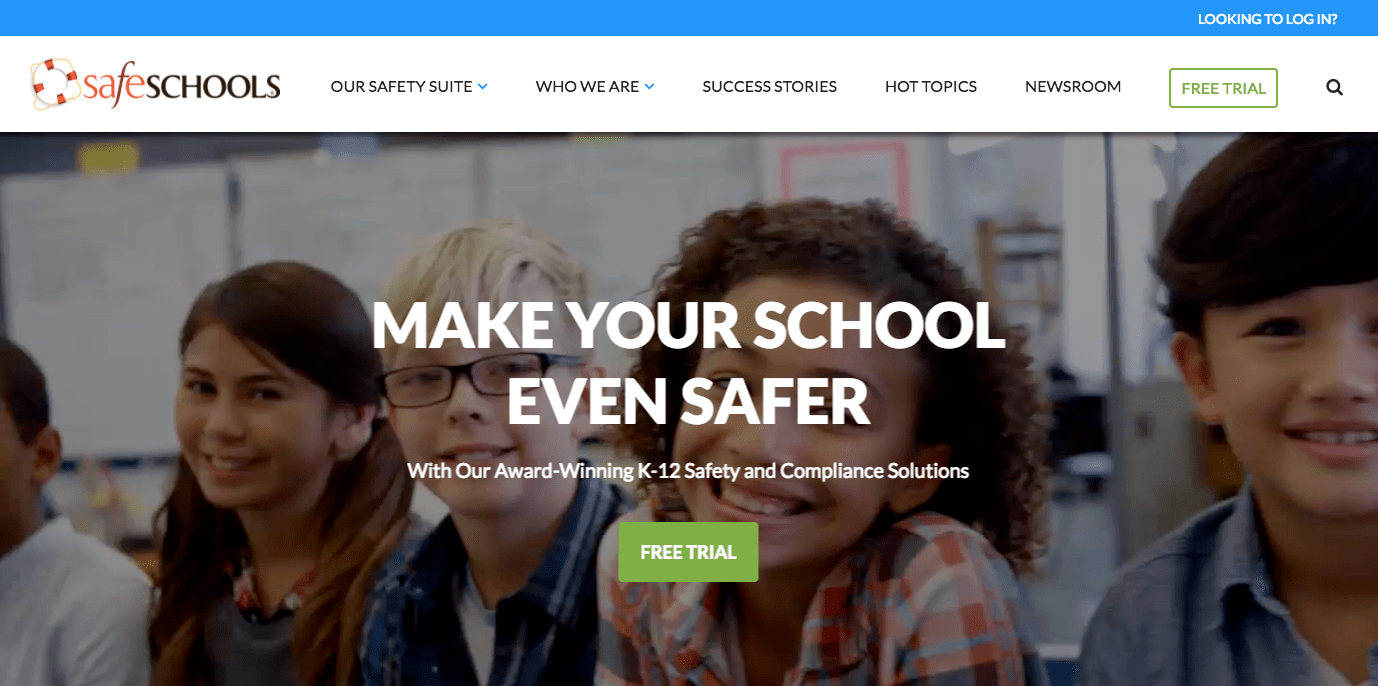 safeschools homepage call to action