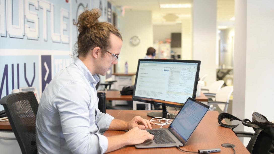 Lew the WordPress developer coding
