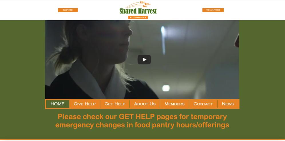 Shared Harvest homepage