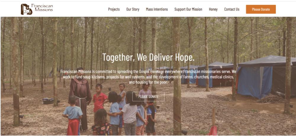 Franciscan Missions website follows nonprofit website best practices