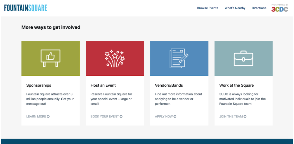Fountain Square website uses nonprofit website best practices