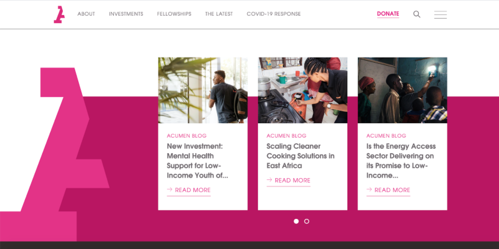 Acumen blog page on website