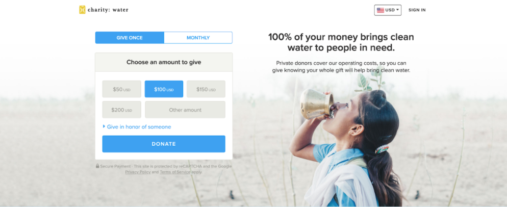 Charity:water donate page