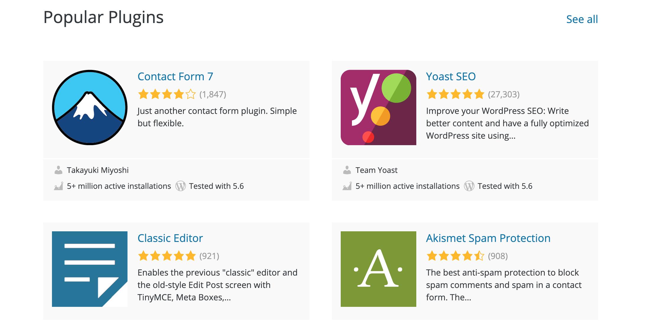 four popular WordPress plugins