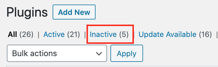 If a plugin is inactive, uninstall it