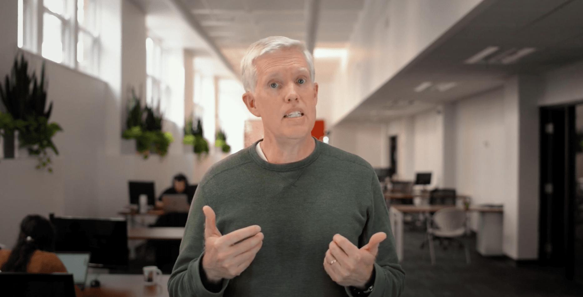 David presenting in a video