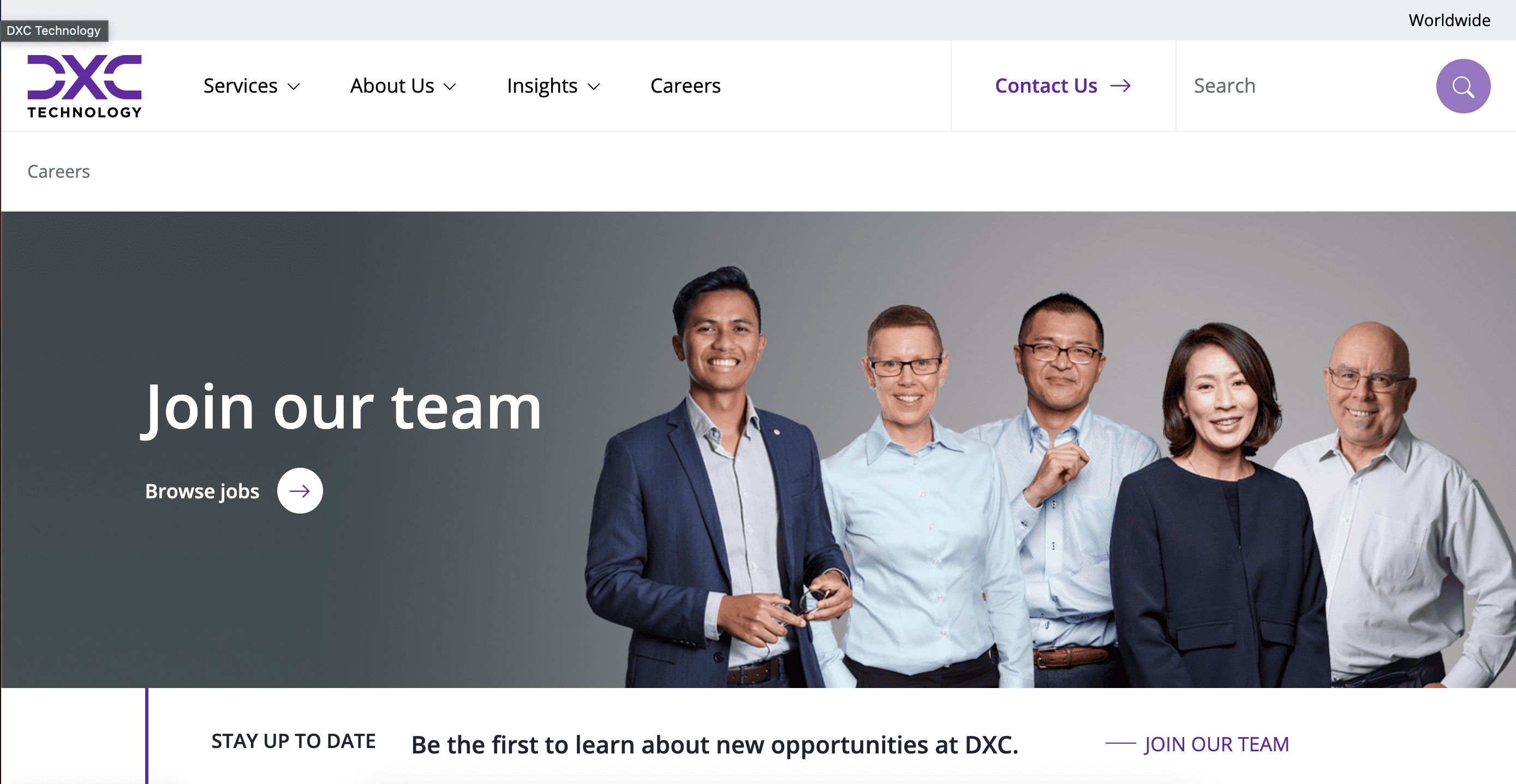 DXC Technology Careers landing page