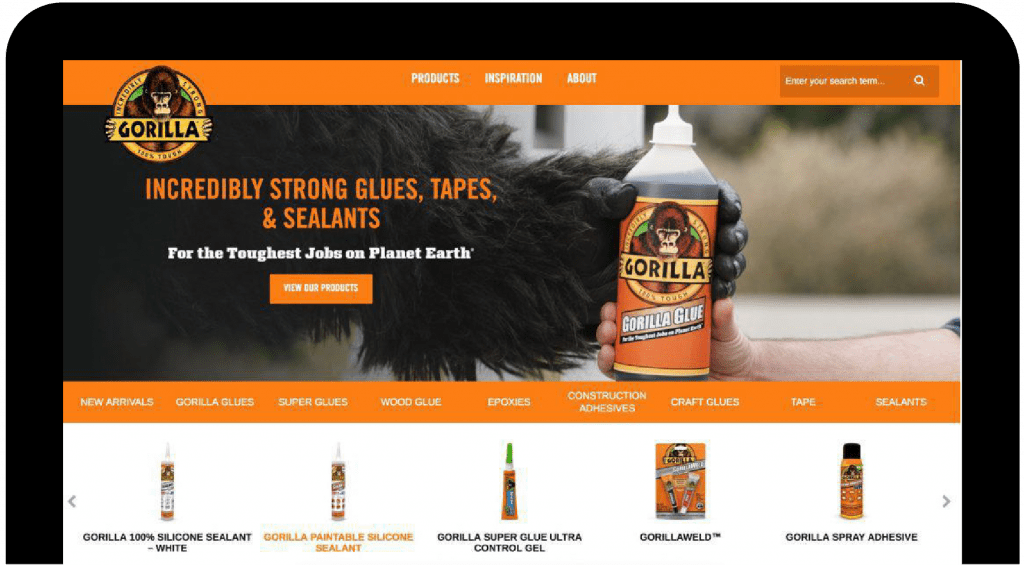 Gorilla Glue Website Screenshot