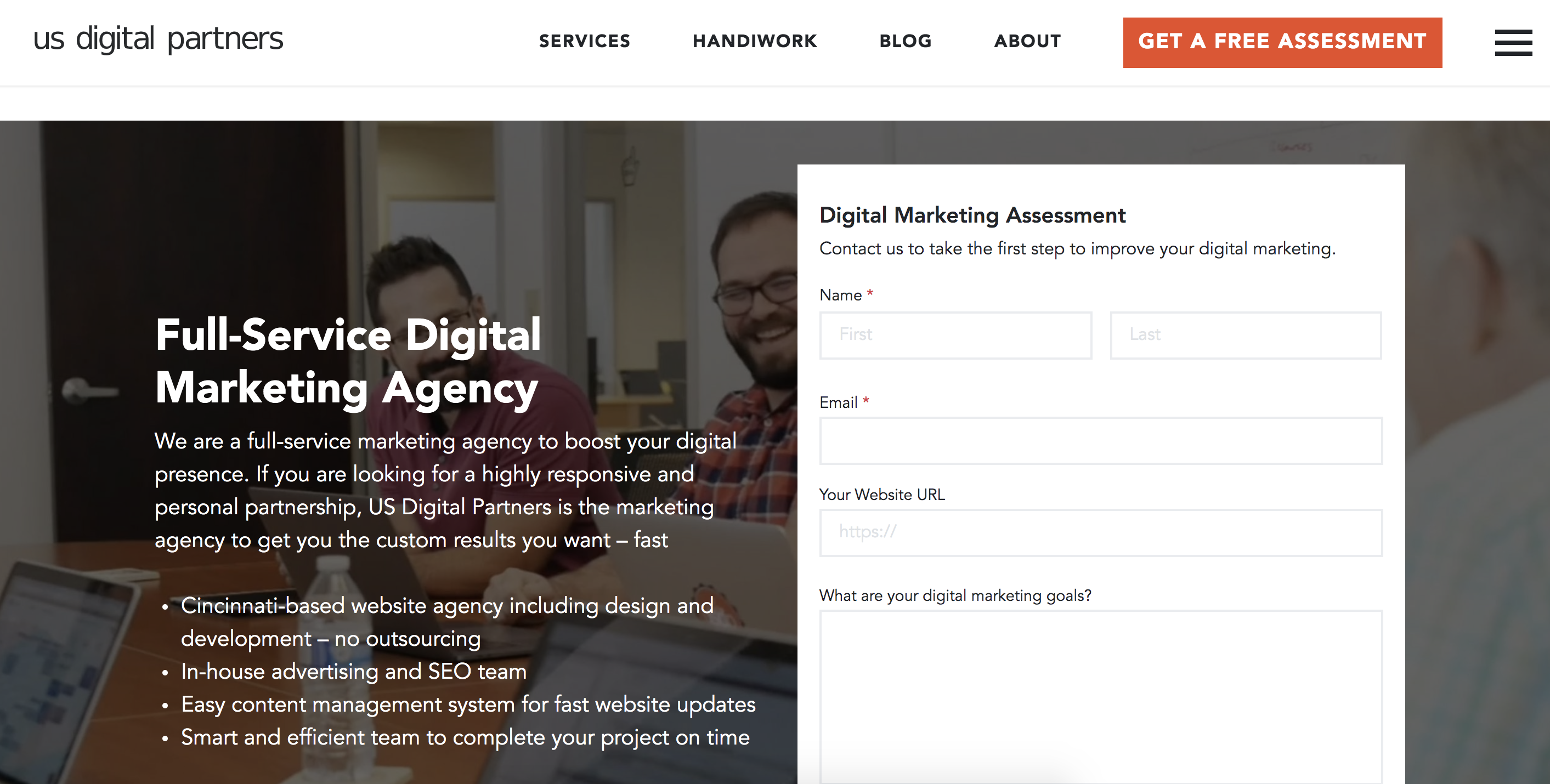us digital partners ad landing page avoids SEM mistakes