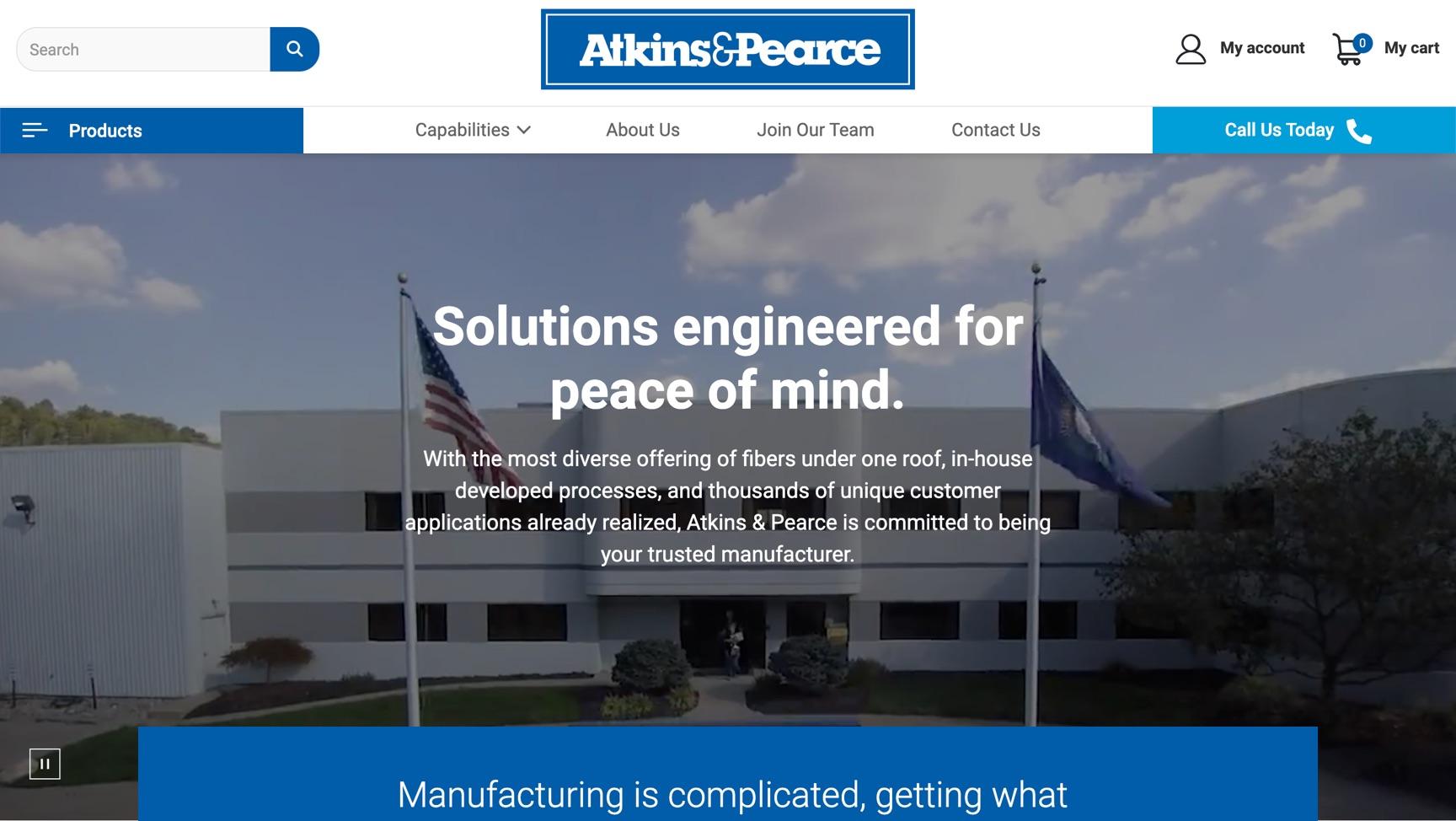Atkins & Pearce homepage screenshot