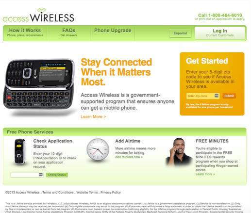 Access Wireless website before