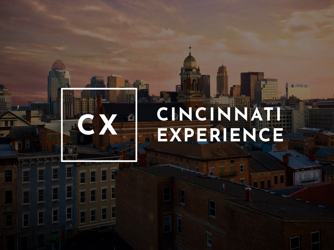 CX logo layered on cityscape