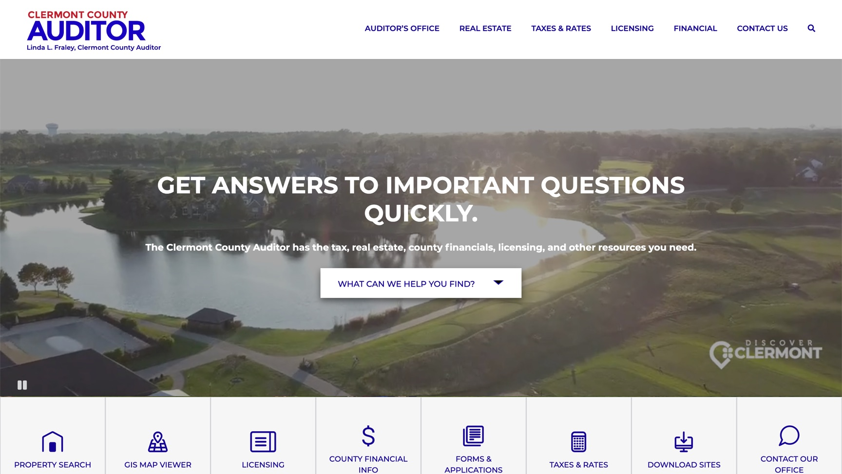 Clermont County Auditor website homepage