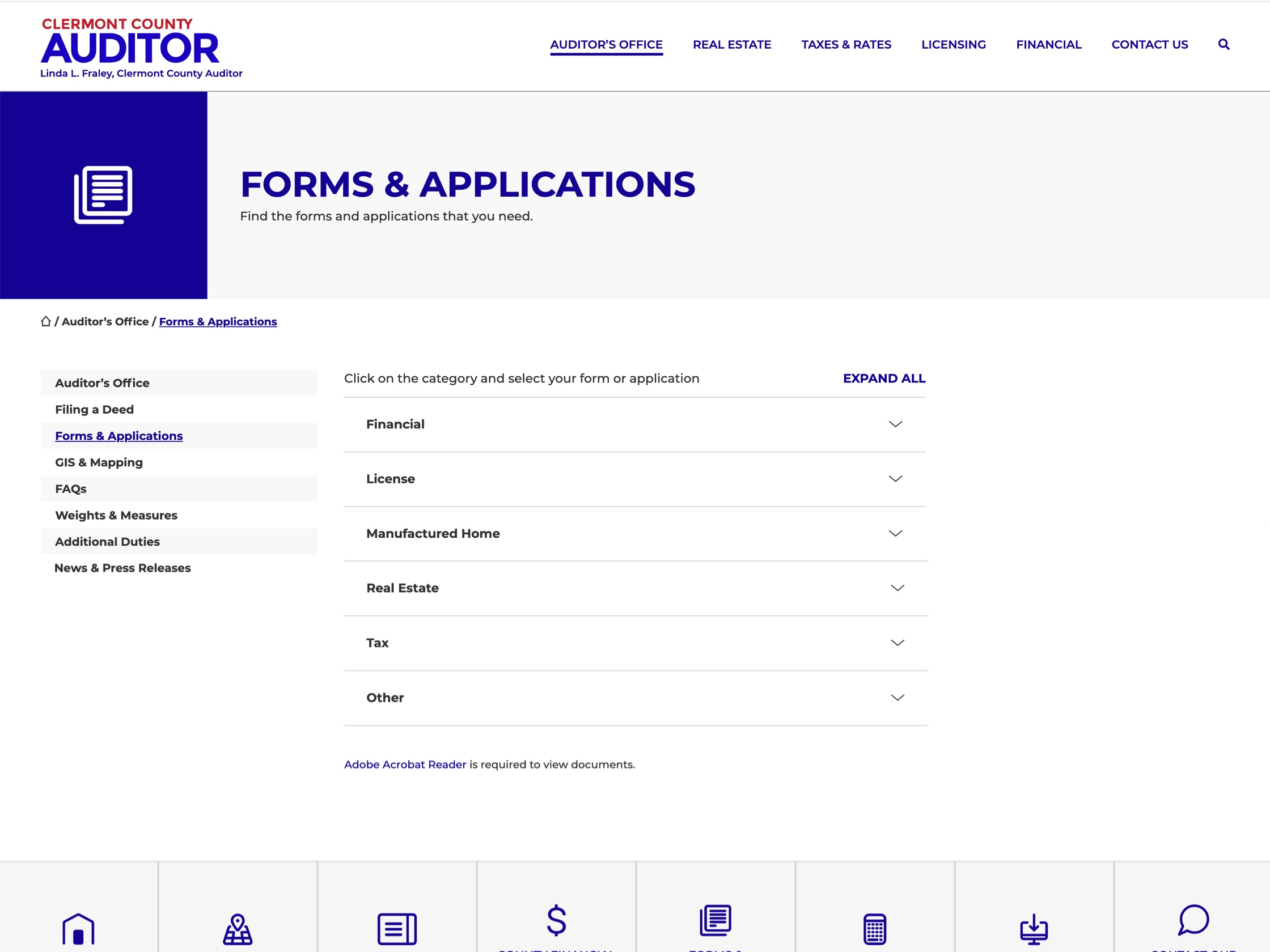 Clermont County Auditor's Forms and Applications library page