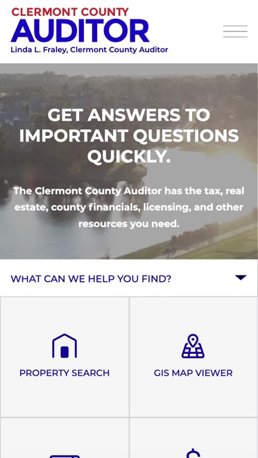 Clermont County Auditor mobile website homepage
