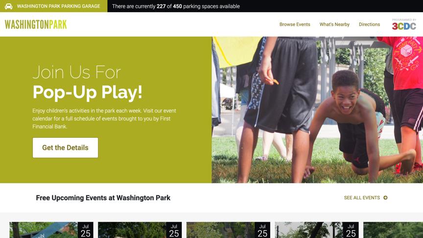 screenshot of Washington Park website homepage