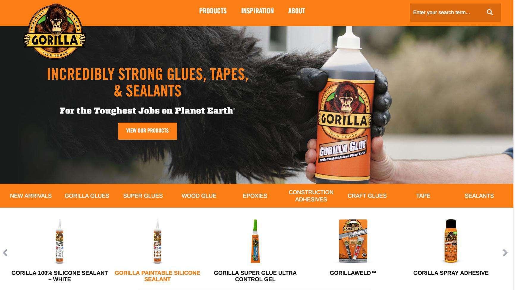 Gorilla Glue desktop website screenshot of products page