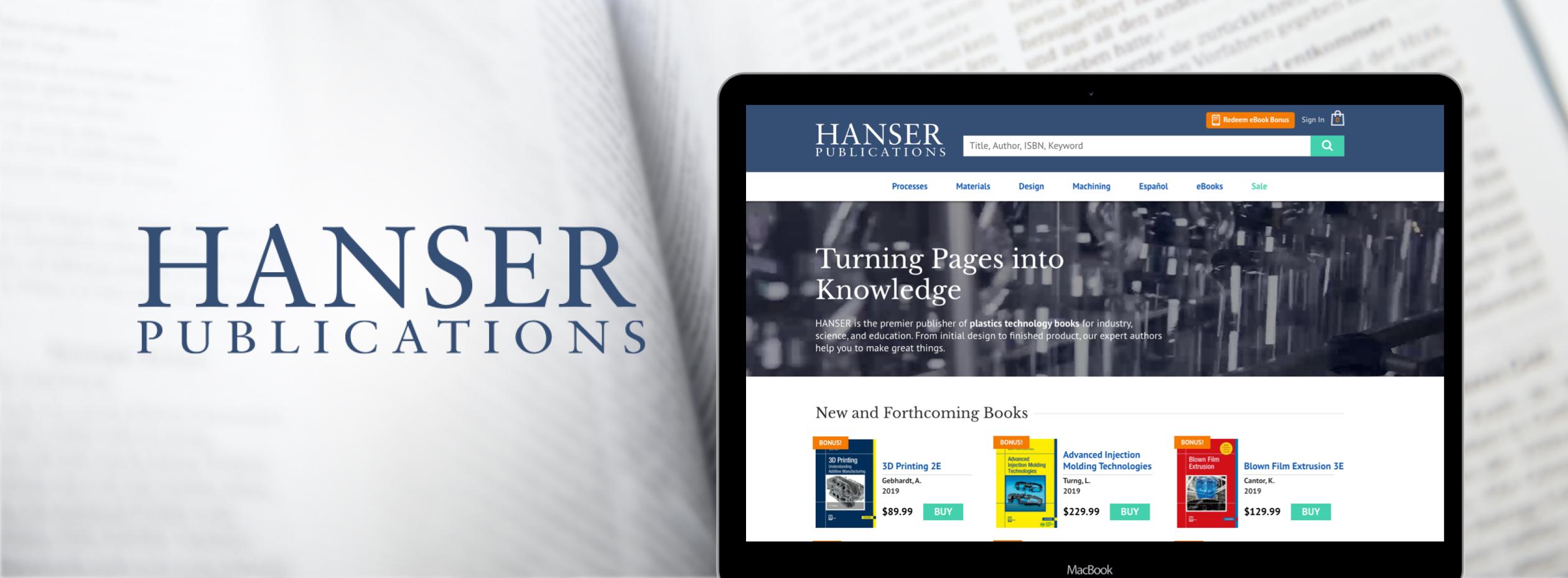 Hanser ecommerce homepage