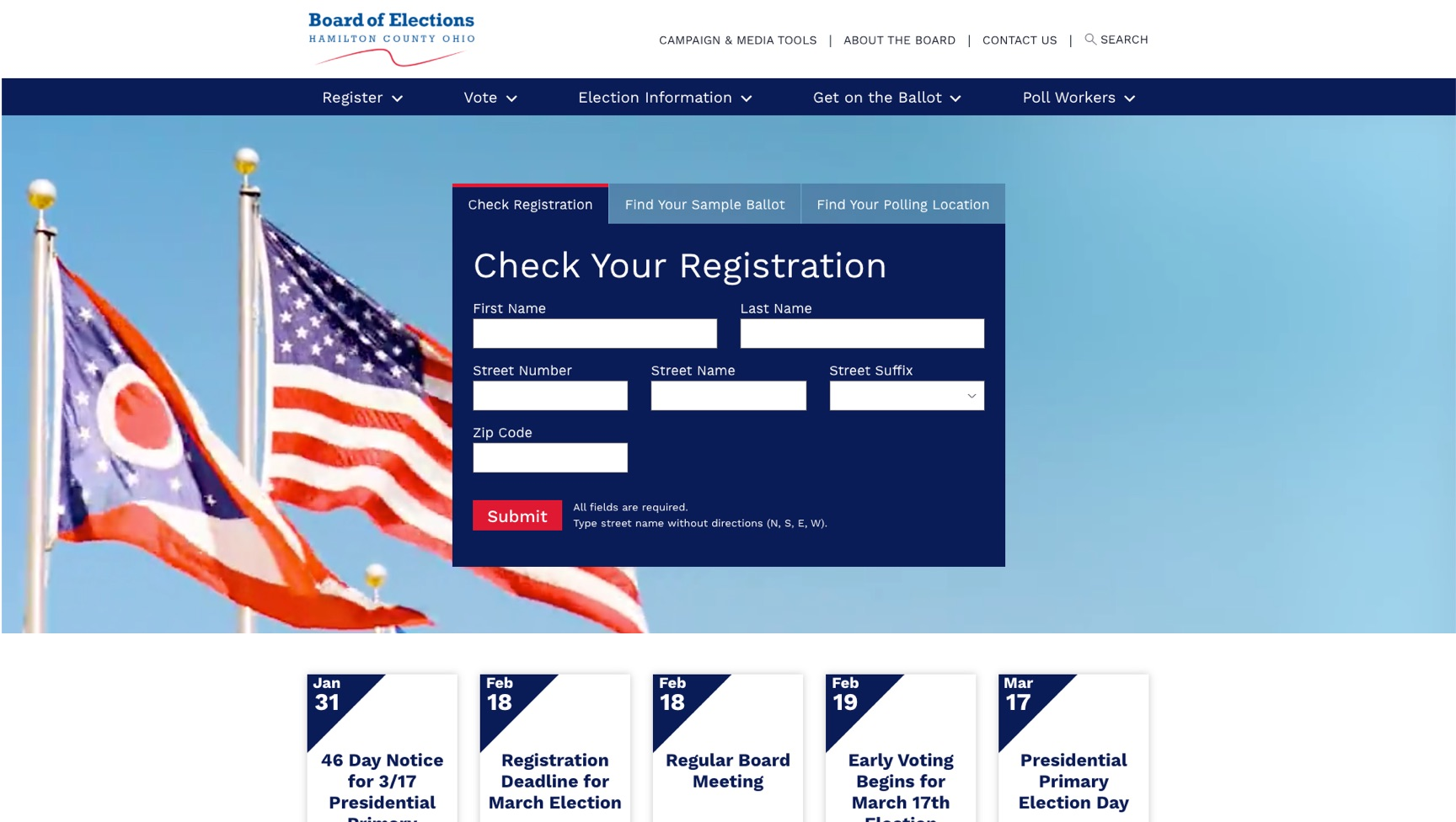 Homepage of the Hamilton County Board of Election Site.