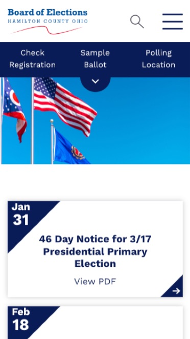 Homepage of the Hamilton County Board of Election mobile website