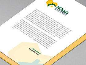 HC Kids logo as letterhead on paper